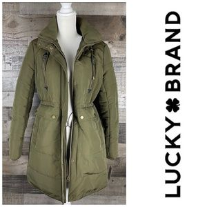 Lucky Brand Hooded Jacket Green Militar Pockets S
